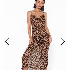 Nasty gal semi-sheer cheetah print dress